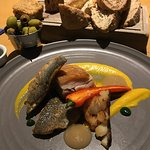We shared a starter of Sea Bass and Belly of Pork