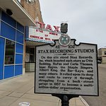 Historic plaque that marked where the original Stax building stood