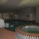Pool in the morning (the lights were out even though it was technically open).