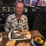 Eddie ready to devour his Stone Grill steak