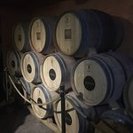 Wine casks at Nevo Winery in former bomb shelter