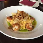 Pan seared scallops with pumpkin risotto and cabbage. $26