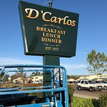 D'Carlos has a new sign - easier to read from a distance.