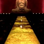 Interior of Buddakan, with a 10ft Buddha, and a large 32-seat communal table.