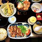 Chicken Steak, Chicken Sukiyaki, Tempura, Tsukemono, California Roll and Chawan Mushi