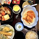 Shiromi Ankake (cod), Chicken Sukiyaki, Tempura, Tsukemono, California Roll and Chawan Mushi