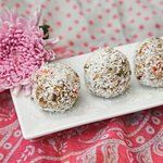 Snack on one of Bounce Balls made with cashew butter, trail mix and oat for 40B