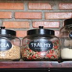 We make our own home made VEGAN granola and trail mix
