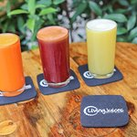 Selection of our colorful regular sized healthy fresh pressed juices for 80B