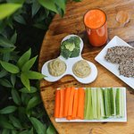 Sticks and dips with our home made hummus and quinoa chia seed bread! YUM!