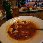Chicken Tum Yum soup (fishcakes in background)