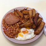 Egg, chips, beans and spam.
