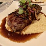 NY Strip with garlic Parmesan grits
