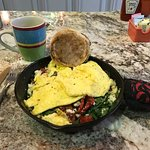 Spinach skillet omelette with coffee. Healthy! and delicious.