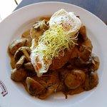 Delicious mushrooms on toast