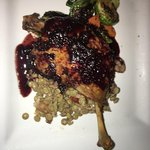 Canard Confit (duck) with lentils, roasted Brussel sprouts, etc.