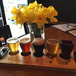 Flight of beers! Daffodils in honor of the festival!