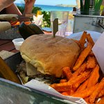 Best burgers on the island. With sweet potato fries.