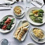 Mac'n'cheese, Caesar Salad and vegetables