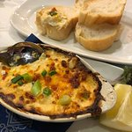 Crab au gratin, with french bread