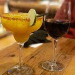 Mango cocktail and wine at Jackalopes