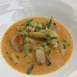 Starter: Scallops in minestrone soup