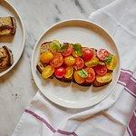 Bruschetta with sweet cherry & yellow datterini tomatoes