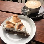 Italian meringue chocolate pie with a nice hot cup of coffee :)