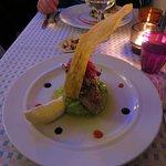 Main course: grilled tuna with green pea potato mash