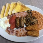 Mega breakfast, free tea, coffee or squash £5.75