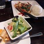 Shiitake Shrimp, salad and egg roll app, $15.