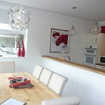 Self catering kitchen/Dining room with views over the park