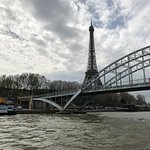Another perspective of the Eiffel Tower from the river boat cruise.