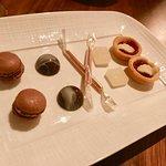 Mignardises, including smoked whiskey and white chocolate bon bons