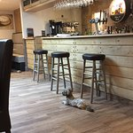 The bar and doggie friendly area