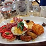 Bill's breakfast with potato rosti and eggs turned over!