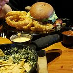 Big John burger with onion rings(Amazing!) & spinach & artichoke dip for appetizer