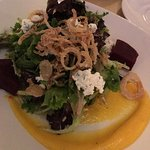 Greens with Butternut Squash and Buttermilk Puree, Crisp Shallots, Herbed Goat Cheese & Pickled