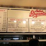 Menu at Arthur Bryant's