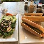 Nova on fresh made roll w/ avocado & capers w/ salad