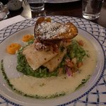 Pan Seared Hake with Spinach Risotto and a sweet potato crisp on top