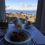 Delicious vegan breakfast with a view towards Arran
