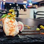 Gold and Ikura Salmon nigiri