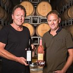 Winemakers Tim Preston & Paul Dawick with one of our award winning wines