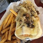 Salty dog with mushrooms and onions