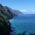 Na'Pali coast view; this view is only possible by hiking or helicopter, and it is spectacular.