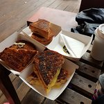 Our sandwiches and coffee. Look at the caramelization of the toast! Perfection!