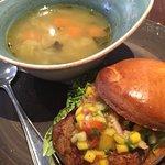 Jerk chicken sandwich & daily soup