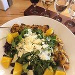 Arugula salad + chicken skewers