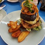 Fynproewer Burger on a black roll (coloured with squid ink) and aioli